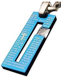(エムシー) MC ステンレス メンズ ネックレス プレート メッセージ ロゴ ストーン ジュエリー アクセサリー acces-19-F 2-ブルー