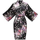 ALHAVONE Women's Bride Bridesmaid One Size Floral Silky Short Kimono Robe for Wedding Getting Ready