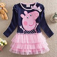 Honey Dew Props Kids Girls Peppa Pig Long Sleeve Cotton Dress