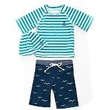 子供 水着 男の子 sandia カモメボーダーUV 半袖 ラッシュガード パンツ セット キャップ 付き 130