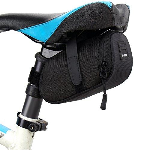 k-outdoor 自転車サドルバッグ シートポストバッグ 反射テープ 自転車カバン・ポーチ 耐衝撃 通勤、サイクリング用 多機能 収納 取り付け簡単 防水 (ブラック)