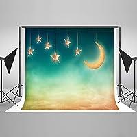10x6.5フィート 静かな星空の三日月 ドリームライク背景 写真撮影用 プロの写真撮影用背景幕 スイートベイビー ポートレート 写真撮影 スタジオ 小道具 ビデオ ドロップ