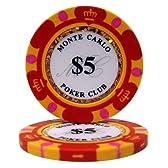 【ノーブランド品】モンテカルロ 13.5g ポーカーチップ 25枚セット レッド $5