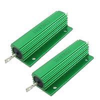 uxcell ハイフラ防止器 巻線型抵抗器 収容巻線型抵抗器 グリーン 100W 50 Ohm 5% 2個 …