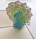 3D 立体 ポップアップ グリーティングカード 結婚祝い 誕生日 バレンタインデー ホワイトデー クリスマス  ギフト おすすめ 飛び出す招待状 (LOVE2観覧車(グリーンバージョン))