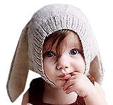 (トヨベイ)Toyobuy 可愛い 新生児 赤ちゃん ベビー 帽子 コットン ニット帽子 キッズ 耳あて 兎 女の子 防寒 ニットキャップ 男の子 春 秋 冬 無地 グレー