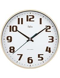 Felio 置き時計・掛け時計 アイボリー (約)高さ22.5×幅.22.5×奥行き3.6cm