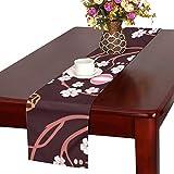 LKCDNG テーブルランナー 和風の桜 クロス 食卓カバー 麻綿製 欧米 おしゃれ 16 Inch X 72 Inch (40cm X 182cm) キッチン ダイニング ホーム デコレーション モダン リビング 洗える