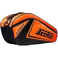 調整可能なショルダーストラップバドミントンラケットカバーバドミントンラケットバッグテニスバッグ(6ラケット)、オレンジ