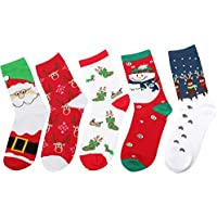Womens Christmas Socks Cotton Crew Socks Holiday Festival Stockings with Gift Box