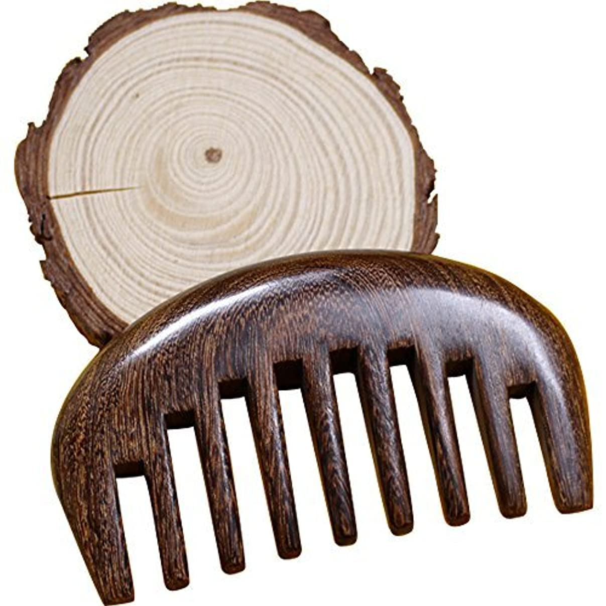 プレゼンペンス会話Wood comb Wooden wide tooth hair comb detangler brush -Anti Static Sandalwood Scent handmad with gift package...