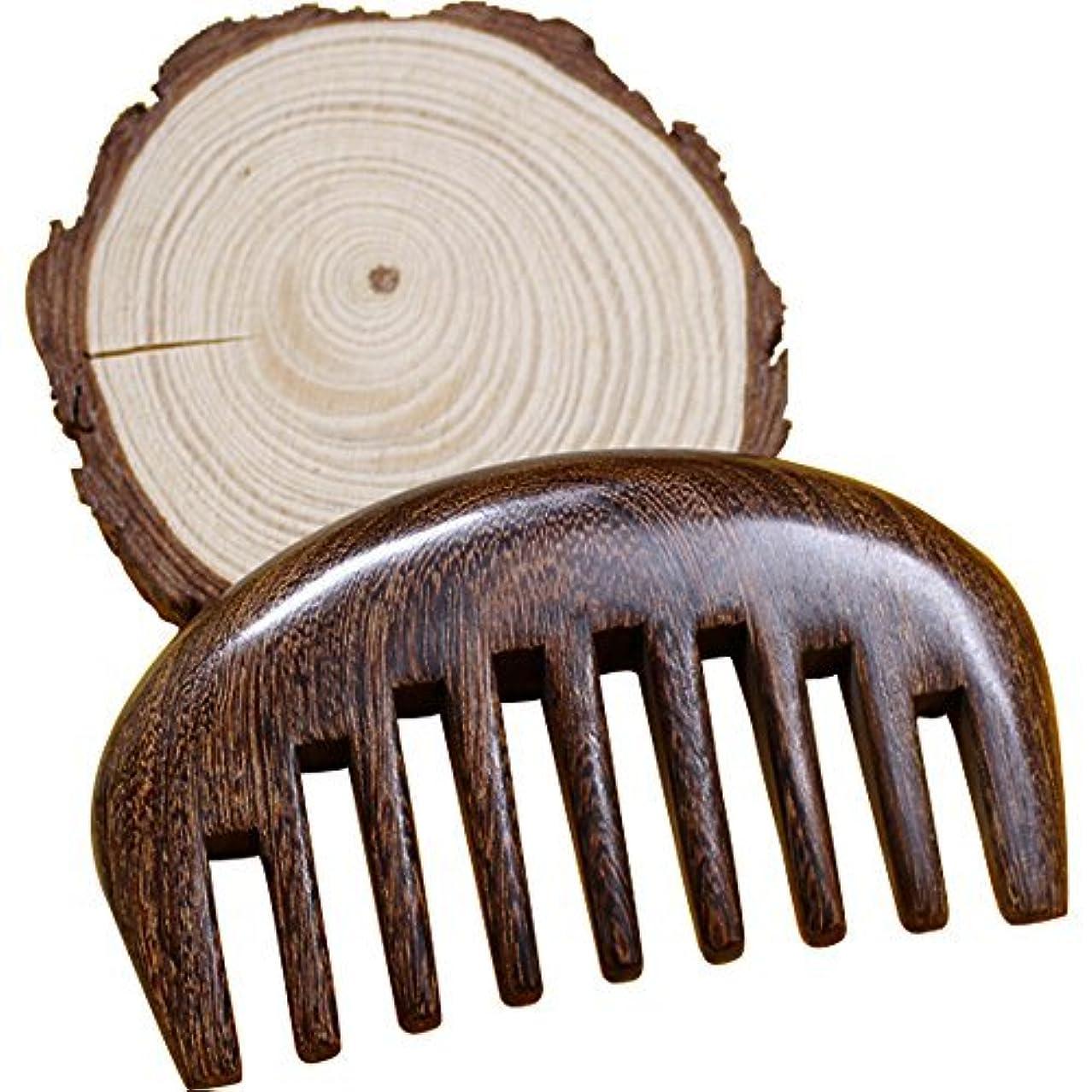 派生するなめらか助手Wood comb Wooden wide tooth hair comb detangler brush -Anti Static Sandalwood Scent handmad with gift package...
