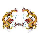 Viviseason (ビビシーズン)かっこいい 1ペア 中国の龍 ドラゴン 刺繍布パッチのステッカー ワッペン 布貼り シール ハンドメイド アクセサリー 飾り クール メンズ