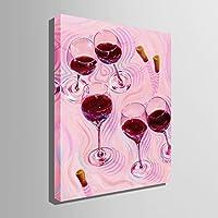 飾り絵 手描きの装飾画 インテリア装飾品 芸術品(赤ワイングラス)アートパネル キャンバス絵画 印象派油絵 壁掛け絵画 壁飾り 家の装飾100%手書きアートポスター 絵画(HOME DECO) (35CM*50CM)
