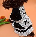 Amazon.co.jpMilkee ペットスカート ペットレースメイド服 犬ワンピース 犬ドレス 春秋 (S, 黒い)