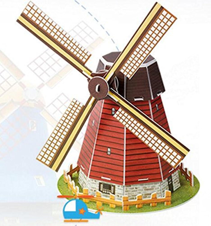 HuaQingPiJu-JP 創造的な教育3Dパズルアーリーラーニング建設子供のためのおもちゃファンタスティックギフト(オランダの風車)