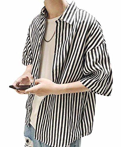 Gergeous半袖 シャツ ゆったり カジュアルシャツ ストライプ ストリート 韓国ファッション シャツ(F黒)