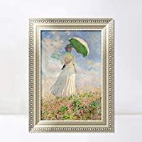 """INVIN ART Framed Canvas Art Giclee Print Study of a Figure Outdoors, Facing Right, 1886 by Claude Monet Wall Art Living Room Home Office Decorations(European Style Silver Frame,28""""x40"""")"""
