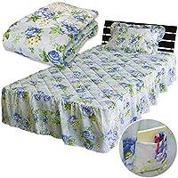 メーカー直販 ロココ調 ベッドスカートフリル付き 花柄フリル付きベッドパッド シングル 100×205cm ※フリル長さ:35cm(各サイズ共通) ブルー
