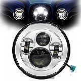 ハーレーダビッドソン ジープラングラーCREE製純正ヘッドランプ ジープ用 LEDヘッドランプ 7インチ 40W ハイロー表面メッキ色