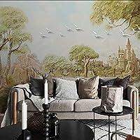 Wxmca 壁画城鹿木鳥自然壁紙壁画ソファのための3D写真壁画3Dの壁壁画3Dの壁紙-280X200Cm
