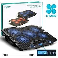 ラップトップ冷却パッド|マウサー最大15.6インチのi-Star USBラップトップクーラートレイ - 安い、ディスカウント価格5ファン2500RPM調整可能な速度と高さのスタンド付きLCDディスプレイ(ブルー)