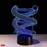 Lumiere 3dナイトライトDNAシーケンスランプ、LED抽象ランプUSBケーブル、7色変更LED、スマートタッチ、ボタンコントロール、アクリルパネル& ABSベース