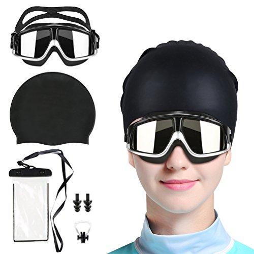 スイミングゴーグル 曇り防止 UVカット メッシュ メンズ レデイース お洒落 調整可能ストラップ(セット:スイムゴーグル スイムキャップ、ノーズクリップ、耳栓、防水フォンケース付き、メガネケース)