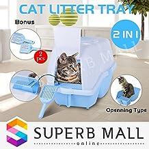 Litter Pan Pet Cat Tray Box Hooded Flap Door Kitten Toilet Two Scoops 63X44x45cm