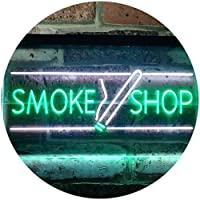 Smoke Shop Cigarettes Cigar Shop Open Dual LED看板 ネオンプレート サイン 標識 White & Green 400mm x 300mm st6s43-i3159-wg