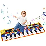 Mixi Musical Dance Mat, Piano Music Mat Keyboard Play Mat with 19 Keys for Children, Kids Floor Keyboard Musical Pad Build-in Speaker & Recording Function for Kids Toddler Girls Boys 43.3'' X14.2''