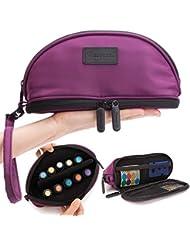 [Pacmaxi]エッセンシャルオイル 収納ポーチ 携帯便利 旅行 10本収納(5ml - 15ml) ナイロン製 撥水加工 ストラップあり (パープル)