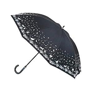 アテイン 晴雨兼用傘 親骨47cm ネコ&葉っぱ(内側シルバーコーテイング) 6478
