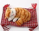 ぬいぐるみ 座布団ねこ 猫 インテリア 飾り (茶ストライプ)