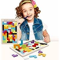 Linshop 良い情報Linshop 木製カラーテトリスのブロックのこれまでに変わっている子供たちの教育的な赤ちゃんおもちゃバックパス