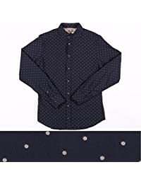 EXIBIT 刺繍 長袖シャツ CA113C730 navy x beige S 14815NB【A14825】 エグジビット [並行輸入品]