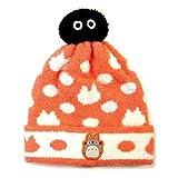 ぽんぽんクロスケシリーズ【帽子 大トトロ(みかん色)・子ども用フリー】軽くて暖かい!子供用の冬のおでかけアイテムです♪となりのトトロ☆ジブリがいっぱい!