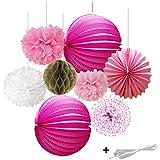 SUNBEAUTY 8個セット ピンク系 紙提灯とハニカムボールとポンポンフラワーの組み合わせ ペーパーデコレーション