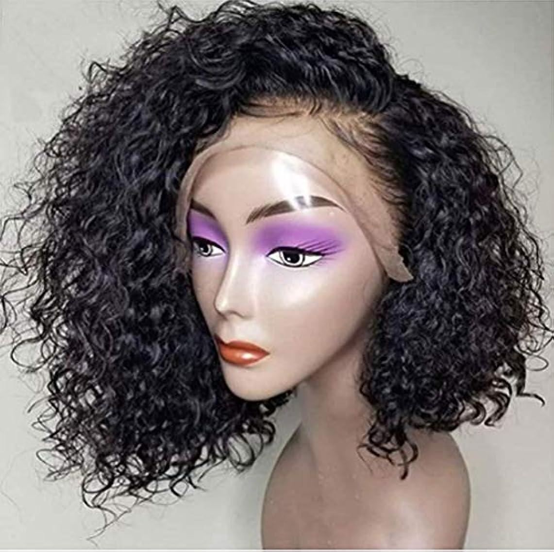 単語引き付ける襟女性のレースフロントかつら150%密度人間の髪の毛のかつら波状少し赤ちゃんの髪の黒14インチ
