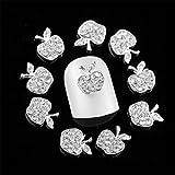 アップルダイヤモンド  シルバー 合金ネイルジュエリー ネイルデコレーション 10枚セット