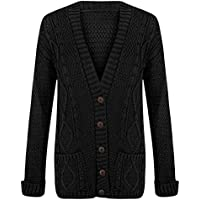 Janisramone Womens Ladies New Aran Cable Knitted Button Up Long Sleeve Grandad Cardigan Jumper Sweater Top