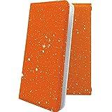 REGZA Phone T-01D ケース 手帳型 星空 オレンジ 星 星柄 星空 宇宙 夜空 星型 レグザフォン レグザ ケース 手帳型ケース おしゃれ T01D REGZAPhone ケース かっこいい