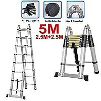 伸縮式はしご - 5m 16.5フィート多機能はしご16段折りたたみ式2.5M + 2.5M伸縮式折りたたみ式持ち運びが簡単