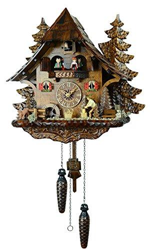 【新ムーブメント音量調整付】クォーツ式鳩時計カッコー時計 ドイツ森の時計 山小屋木こりの休憩4739QMT