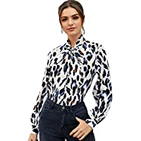 Milumia Women's Casual Bow Tie Neck Work Tops Long Sleeve Leopard Print Buttoned Office Blouse