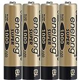 ★ゴールド★エネロングスーパー単4形電池×4本セット[簡易ビニールエコパッケージ]約1000回繰り返し使える単4形乾電池。エネループを超える容量1000mAh!