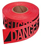 Empire 76-0604 Reinforced Construction Grade Danger/Peligro Tape Red with Black Ink, 500-Feet by 3-I