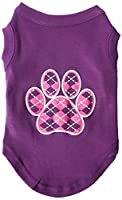 Mirage Pet Products 51-113 MDPR Argyle Paw Pink Screen Print Shirt Purple Med - 12
