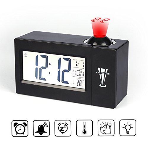 目覚まし時計 プロジェクションア 【音声制御&時間投影】ラーム時計 LEDデジタル置き時計 温度表示...