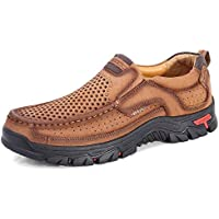 PANFU-AU Casual Slip On Round Toe Anti-Slip Leather Upper Outdoor Trekking Shoes Wear Resistant Fashion Sneakers for Men Breathable Walking Hiking Shoes